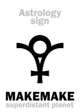 Astrology Alphabet: MAKEMAKE (Rapa Nuï deity), superdistant dwarf planet. Hieroglyphics character sign (symbol of the Polynesian god the creator of humanity).