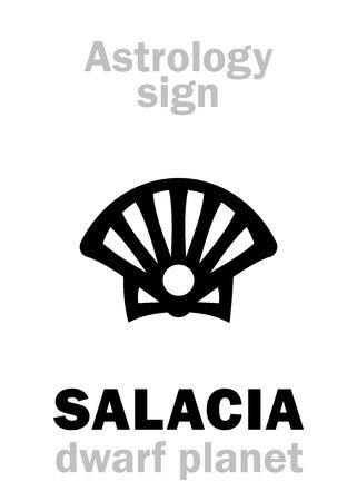 Astrology Alphabet: SALACIA (Amphitrite), dwarf planet. Hieroglyphics character sign (single symbol). Illustration