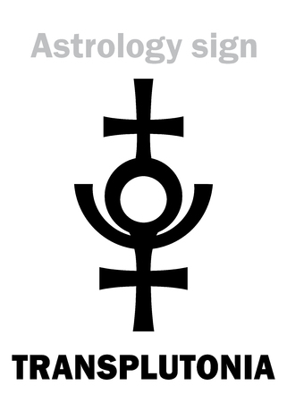 Astrology Alphabet: TRANSPLUTONIA (Planet X, ProserpinaPersephone, 12th hypothetical planet in the Solar System, behind Pluto). Hieroglyphics character sign (single symbol). Illustration