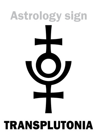 Astrology Alphabet: TRANSPLUTONIA (Planet X, ProserpinaPersephone), 12th hypothetical planet in the Solar System (beyond Pluto). Hieroglyphics character sign (single symbol).