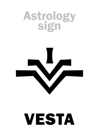 Astrology Alphabet: VESTA, asteroid #4, most bright in Asteroids belt. Hieroglyphics character sign (modern symbol: the fire on the hearth or altar). Illustration