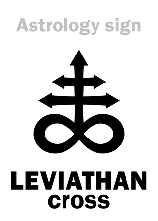 Astrology Alphabet: LEVIATHAN (The Satanic cross). Hieroglyphics sing (mystic kabbalistic demonic symbol).