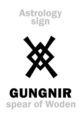 Astrology Alphabet: GUNGNIR (Wodens spear). Hieroglyphics character sign (Runic symbol).