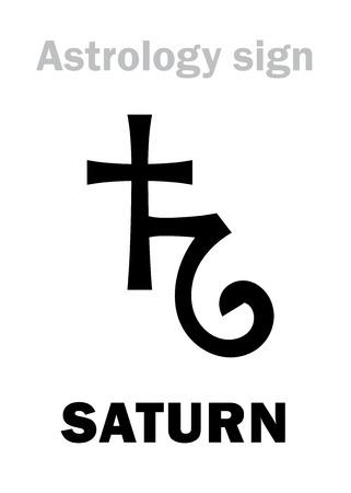 Astrology Alphabet: SATURN, classic major planet. Hieroglyphics character sign (single symbol). Vektoros illusztráció
