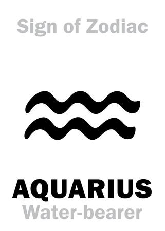 Alfabeto de Astrología: Signo del Zodíaco ACUARIO (El portador de agua). Signo de caracteres jeroglíficos (símbolo único).