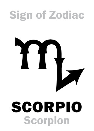 Astrology Alphabet: Sign of Zodiac SCORPIO (The Scorpion). Hieroglyphics character sign (single symbol). Illustration