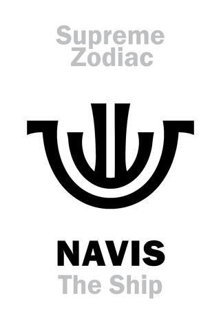 Astrology Alphabet: NAVIS (The Ship, The Boat  The Celestial Vessel), constellation Argo Navis. Sign of Supreme Zodiac (External circle). Hieroglyphic character (persian symbol).