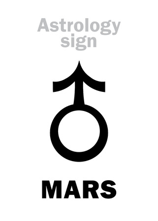 Astrology Alphabet: MARS, classic personal planet. Hieroglyphics character sign (medieval symbol, from alchemical treatise).