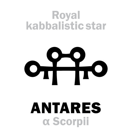 Astrology Alphabet: ANTARES (α Scorpii), «Cor Scorpionis» (The Heart of the Scorpion). Hieroglyphic sign (hermetic kabbalistic magic symbol by Cornelius Agrippa from book «Occult Philosophy», 1533).
