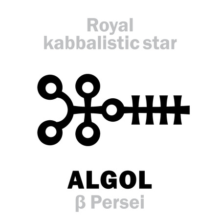 Astrology Alphabet: ALGOL (β Persei / Gorgona), «Caput Larvæ» (The Eye of the Gorgon), oth.name: Demon Star. Hieroglyphic sign (kabbalistic symbol by Cornelius Agrippa «Occult Philosophy», 1533).
