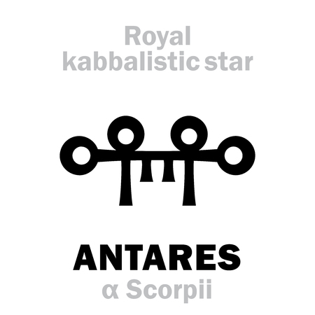 Astrology Alphabet: ANTARES (α Scorpii), «Cor Scorpionis» (The Heart of the Scorpion). Hieroglyphic sign (hermetic kabbalistic magic symbol by Cornelius Agrippa from book «Occult Philosophy», 1533). Illustration