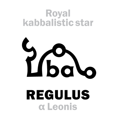 Astrology Alphabet: REGULUS (α Leonis), «Cor Leonis» (The Heart of the Lion). Hieroglyphic sign (hermetic kabbalistic magic symbol by Cornelius Agrippa from his book «Occult Philosophy», 1533).