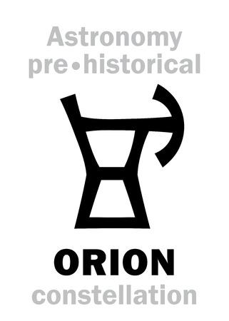Alfabeto di astrologia: ORION (The Divine Giant Hunter), una delle tre antiche costellazioni preistoriche del Neolitico. Segno di carattere geroglifico (simbolo del logo).