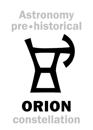 Astrology Alphabet: ORION (The Divine Giant Hunter), one of the three Ancient pre-historical Neolithic constellations. Hieroglyphic character sign (Logo symbol).
