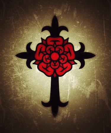 Rosenkreuz (Cross with Rose). Sacral mystical symbol of The Rosicrucians (Rosenkreuzer), The Emblem of Medieval secret society. (Alternate grunge vintage remake).