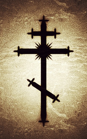 The Greek-Catholic Orthodox eight-pointed Cross. Christian symbol of The Faith, Redemption and Absolution of sins, Resurrection of The Dead, and Everlasting Salvation. (Alternate grunge vintage). 스톡 콘텐츠