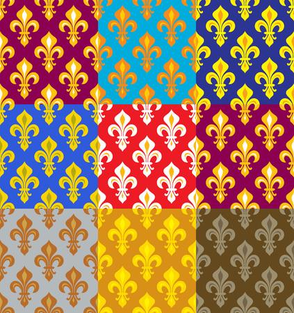 Royal Heraldic Lilies (Fleur de lis) -- Rich colorful wallpaper, fabric textile, seamless pattern, set of 9 versicolored tiles. Vetores