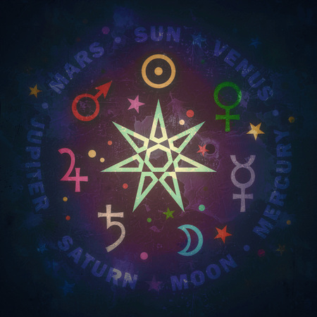 Ancient Star of Medieval magicians: The Septennaire — the seven classical planets of Astrology (vintage variant). 스톡 콘텐츠