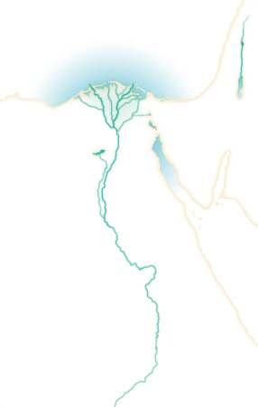 Deep affluent fertile river Nile, Map of Upper and Lower Egypt, Northern Africa, Eastern Mediterranean.