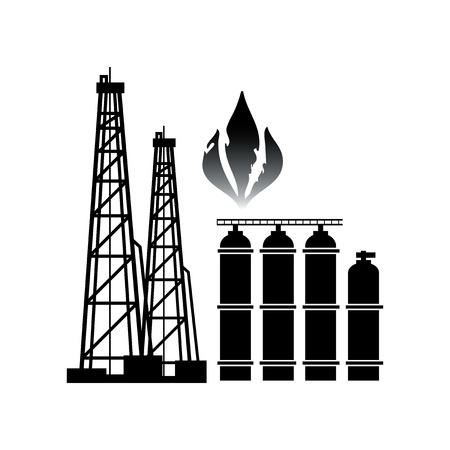 Energy Resources: Gas And Gas Production. Technology and industry emblem. 일러스트