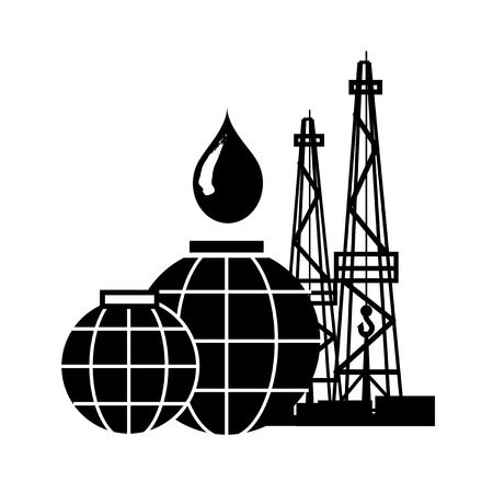Energy Resources: Oil And Petroleum Products. Technology and industry emblem.  イラスト・ベクター素材