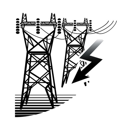 Energy Resources: Electrical Power Station. Technology and industry emblem. 일러스트