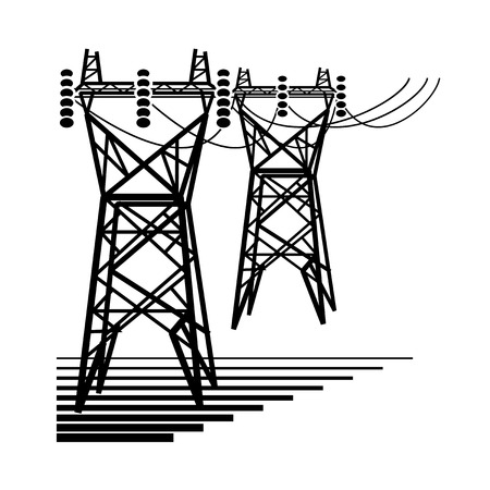 Electricity. The electric power transmission towers of high voltage line.