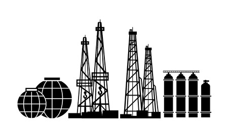 Energy Resources: Oil And Gas Rigs, extraction, fractional distillation, and storage tanks.