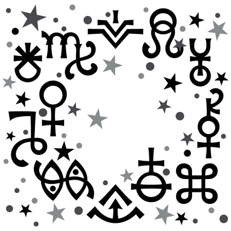 «Astrological diadem», the excerpt of some recent astrological signs and occult mystical symbols. Astrological pattern, celestial background with stars.