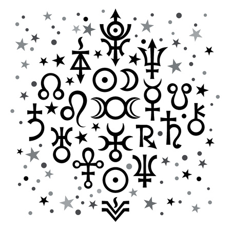 "Astrological set â""–20, the excerpt of some recent astrological signs and occult mystical symbols. Astrological pattern, black-and-white celestial background with stars."