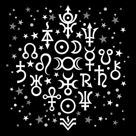 Astrological set №20, the excerpt of some recent astrological signs and occult mystical symbols. Astrological pattern, black-and-white celestial background with stars. Illustration