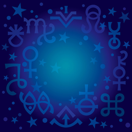 «Astrological diadem», the excerpt of some recent astrological signs and occult mystical symbols. Astrological pattern, blueprint celestial background with stars. Illustration