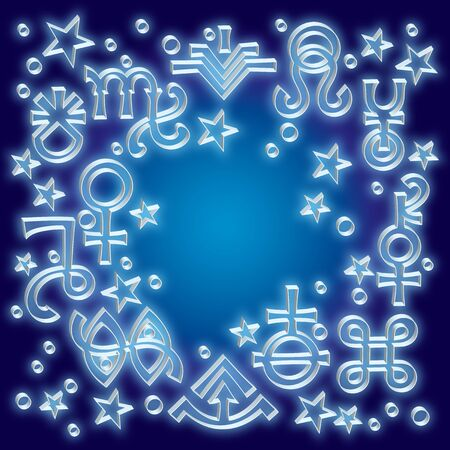 «Astrological diadem», the excerpt of some recent astrological signs and occult mystical symbols. Astrological pattern, celestial background with embossed silver signs and stars. Ilustracja