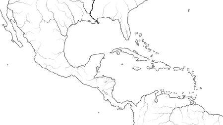 World Map of CENTRAL AMERICA and CARIBBEAN BASIN REGION: Mexico, Cuba, Guatemala, Yucatan, Caribbean Islands, Antilles, Bahamas, Panama Canal. Geographic chart with coastline, sea, gulf, islands. Illustration