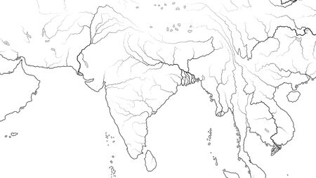 World Map of SOUTH ASIA REGION and INDIA SUBCONTINENT: Pakistan, India, Himalayas, Tibet, Bengal, Ceylon, Indian Ocean And Hindustan Subcontinent. Geographic chart with oceanic coastline and rivers.