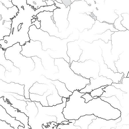Map of The SLAVIC & BALTIC Lands: Eastern Europe, Kiev Russ, Ukraïne, Moscovia, Scythia, Baltica, Lithuania, Poland, Czechia, Croatia, Yugoslavia, Romania and Hungary. Geographic chart with landscape.