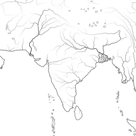 World Map of INDIAN SUBCONTINENT in SOUTH ASIA: India, Pakistan, Nepal, Himalayas, Tibet, Bengal, Ceylon, Maldives, Indian Ocean And Hindustan Peninsula. Geographic chart with oceanic coastline. Illustration