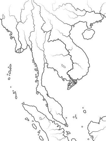 World Map of INDOCHINA: South Asia, Indochinese Peninsula, Thailand, Siam, Vietnam, Laos, Cambodja, Singapore, Malaysia, Malacca, Burma, Myanmar. Geographic chart with coastline, coral seas & isles. Illustration