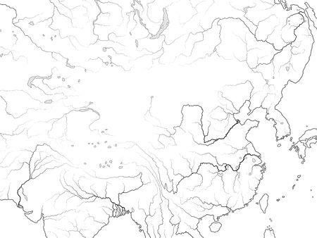 World Map of CHINA: Far East, The Celestial Empire, China, Tibet, Dzungaria, Mongolia, Korea, Manchuria, Siberia, Yakutia, Buryatia, Taiwan, South seas. Geographic chart with coastline and rivers. Ilustração