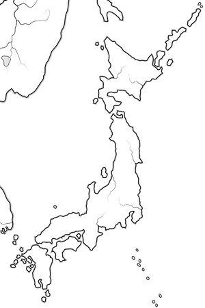 World Map of JAPAN: «Land of the Rising Sun» (endonym: Nippon/Nihon), and its four Large islands: Honshu, Hokkaido, Kyushu, Shikoku. Geographic chart with oceanic coastline and main islands. Standard-Bild - 128753732