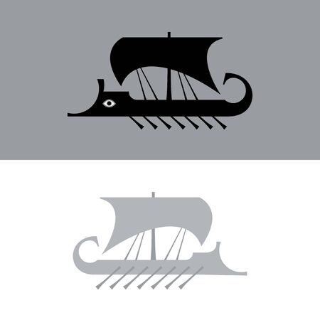 Ancient sailboat, Greek warship, Trireme vessel (vector silhouette). Çizim