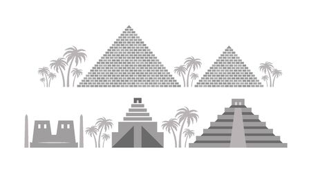 Pyramids and Temples of Ancient Egypt, Babylon, Maya. Architecture heritage of Ancient civilizations of The Middle East, North Africa, Central America.