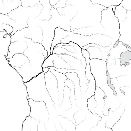 World Map of The CONGO RIVER basin: Equatorial Africa, Central Africa, Congo, Kongo, Zaire. Geographic chart with coastline and main river tributaries.