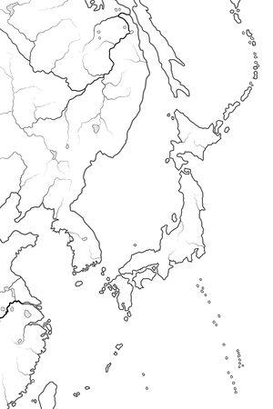 World Map of JAPANESE Archipelago: ''Land of The Rising Sun'' Japan (endonym: Nippon/Nihon), and its islands: Honshu, Hokkaido, Kyushu, Shikoku, and Ryukyu isles. Geographic chart with oceanic line. Standard-Bild - 128753740