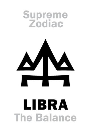 Astrology Alphabet: LIBRA (The Scales / The Balance), constellation Libra. Sign of Supreme Zodiac (Internal circle). Hieroglyphic character (persian symbol).