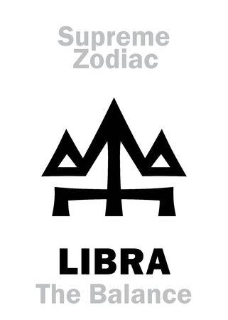 Astrology Alphabet: LIBRA (The Scales  The Balance), constellation Libra. Sign of Supreme Zodiac (Internal circle). Hieroglyphic character (persian symbol).