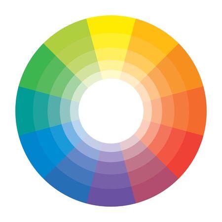 Multicolor Spectral Rainbow Circle of 12 segments. Spectral harmonic pattern set. Illustration