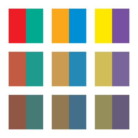 Six basic primary colors, their complementary colors and their shades.