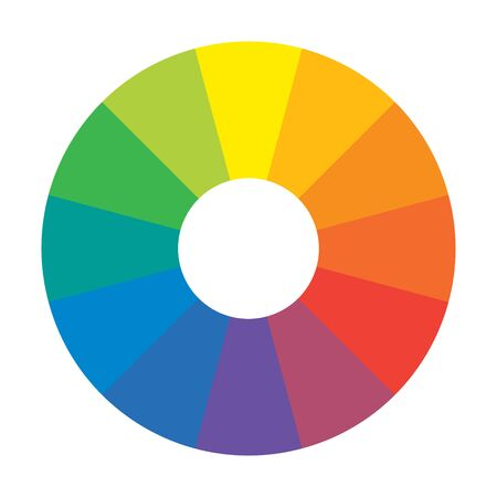 Círculo arcoíris espectral multicolor de 12 segmentos. Paleta armónica espectral.