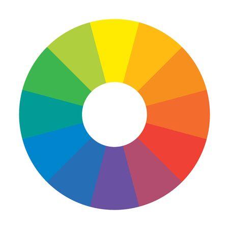Cercle arc-en-ciel spectral multicolore de 12 segments. Palette harmonique spectrale.